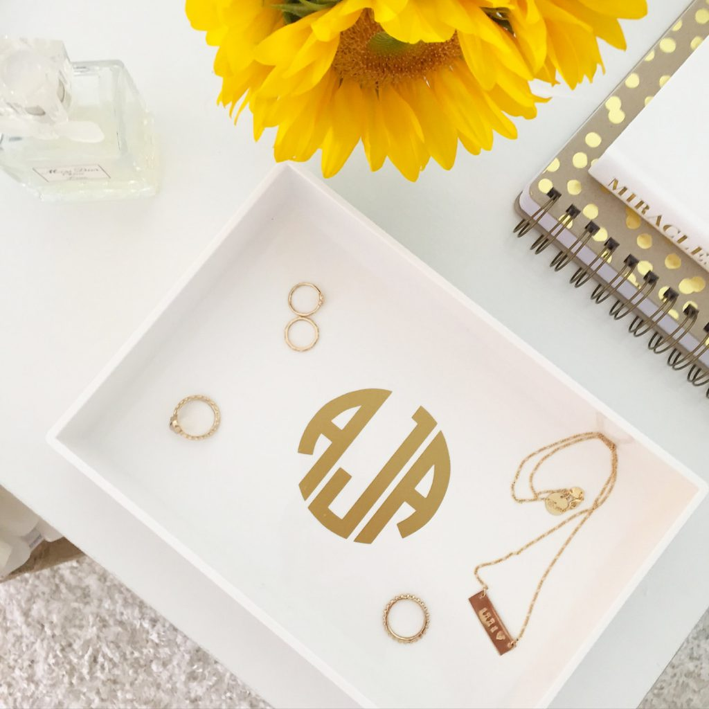 Monogrammed accessory tray