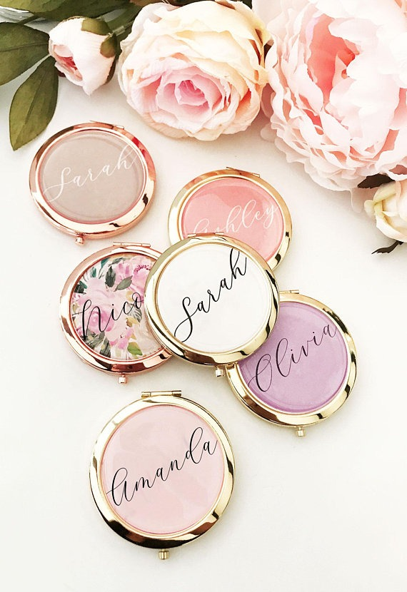 Personalized mini compact mirrors