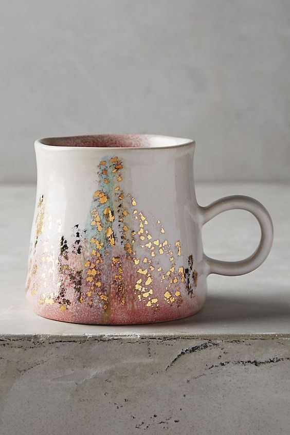 Gold accent coffee mug from Anthropologie