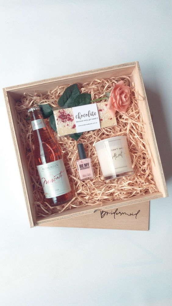 Bridesmaid proposal box with rose, candle and nail polish
