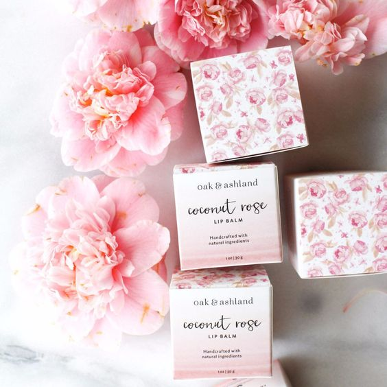 Oak & Ashland coconut rose lip balm in pretty floral box