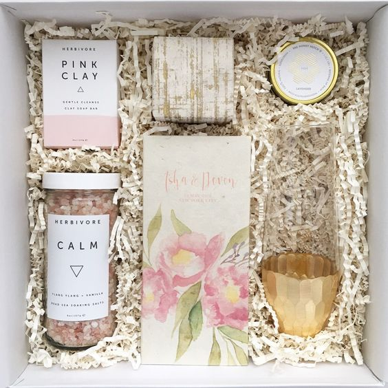 Bridesmaid proposal box including Herbivore bath items