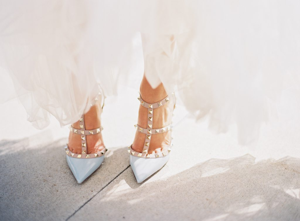 Pale Blue Studded Wedding Shoes