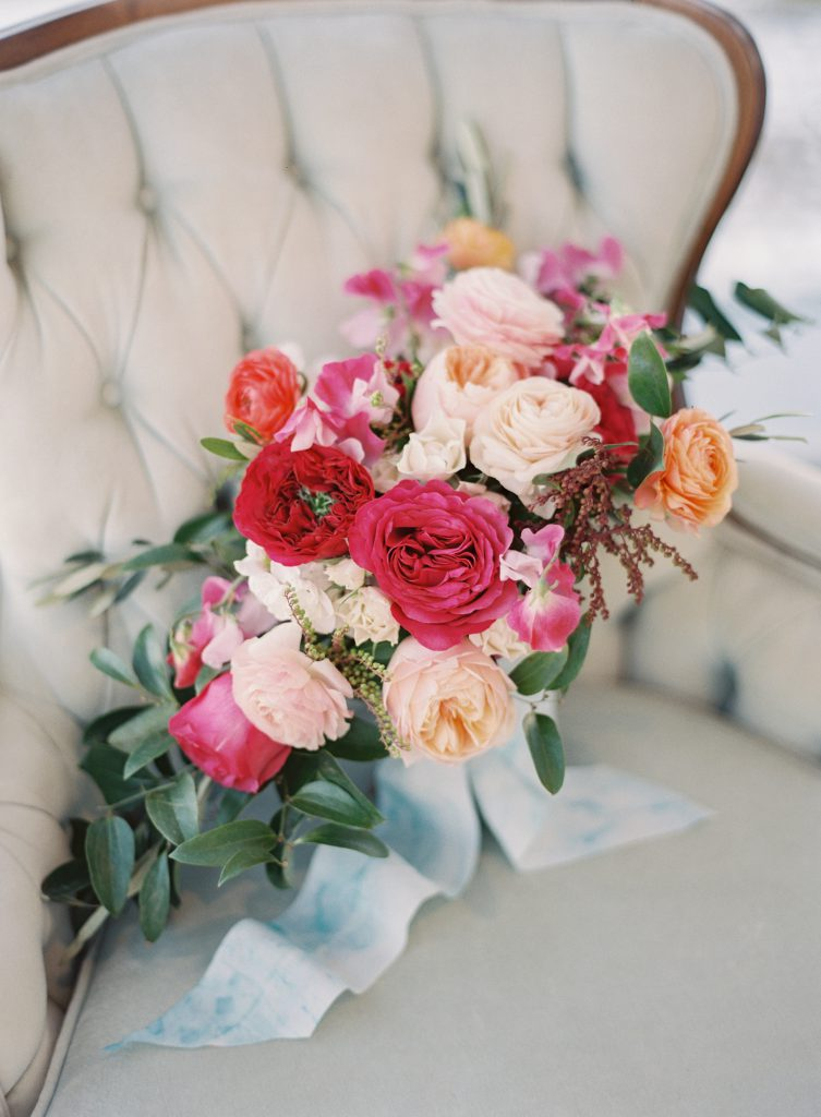 Pink, Peach, and Red Wedding Bouquet