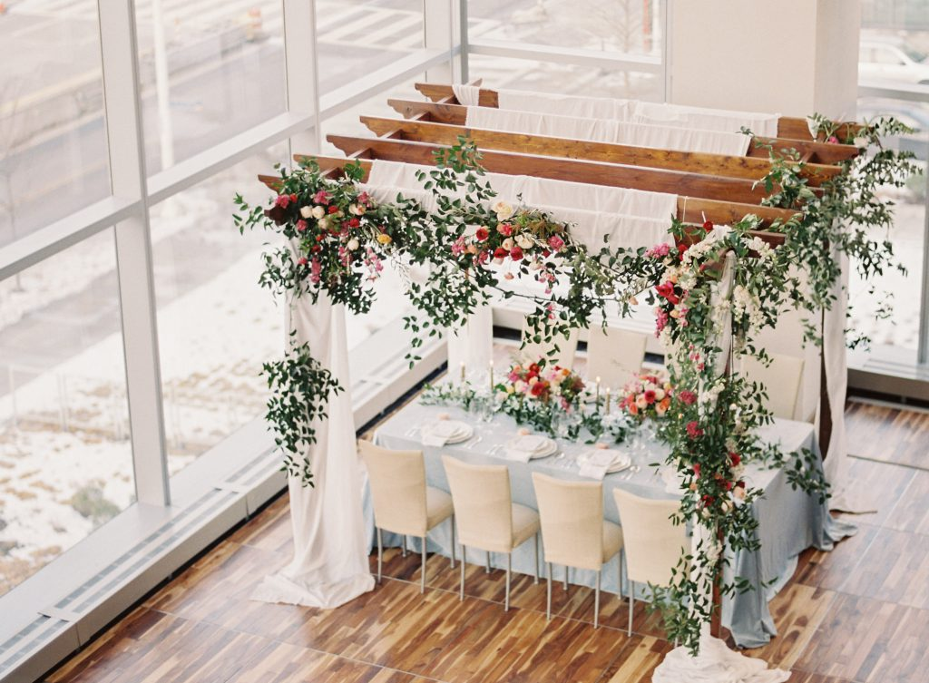 Gazebo with Flowers over Wedding Tables