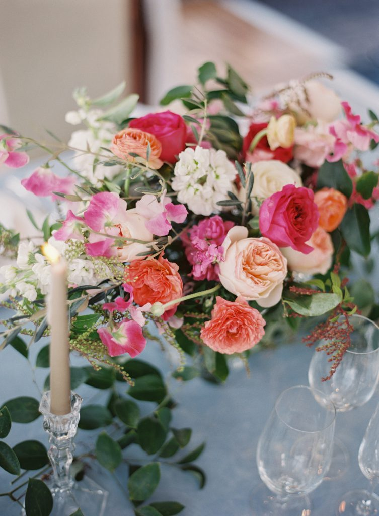 Pink, Peach, and White Wedding Centerpieces