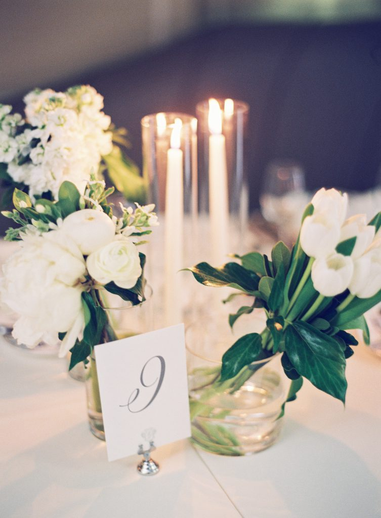White Flowers and Candle Centerpieces