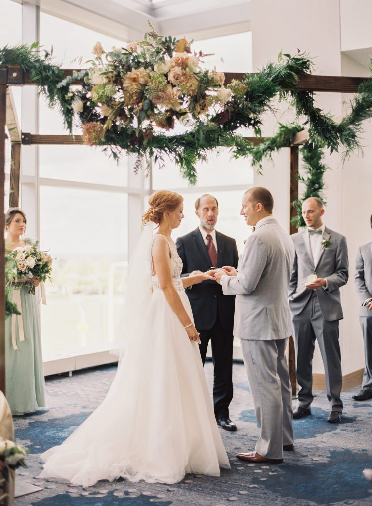 Floral Draped Wooden Ceremony Arch