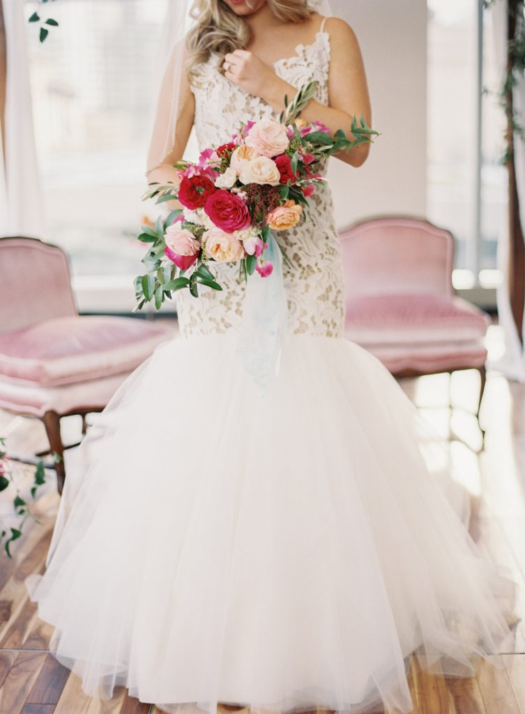 Pink, Maroon and Peach Bridal Bouquet