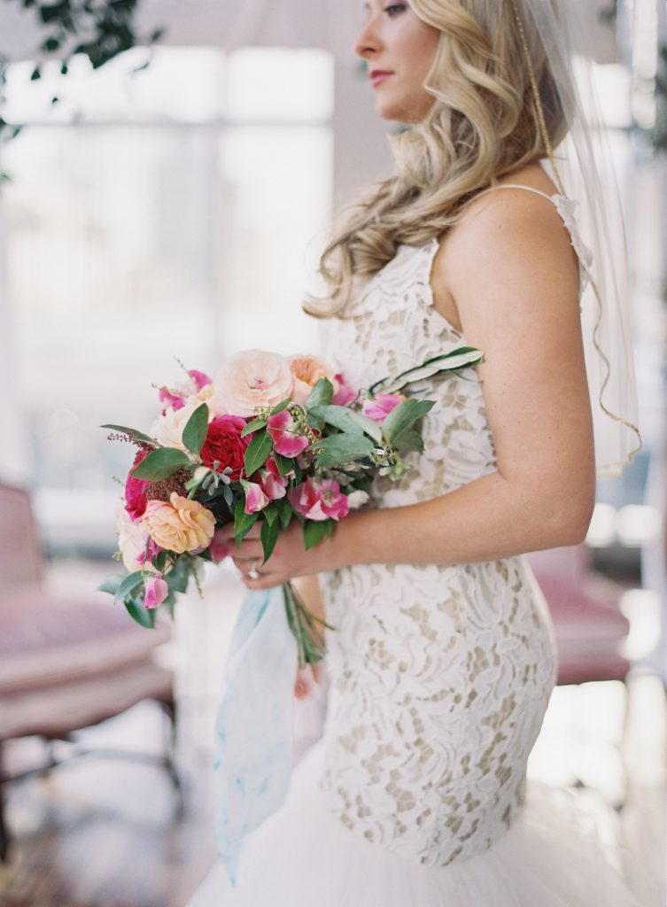 Side view of Bride with Bouquet