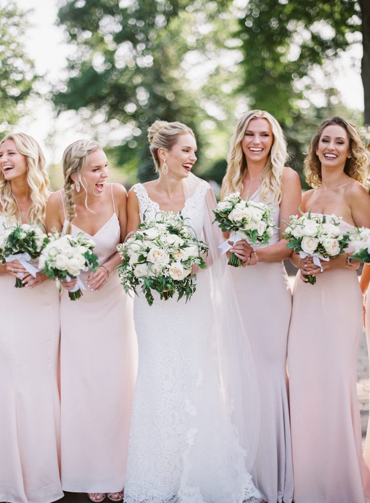 Bride with Bridesmaids in Blush