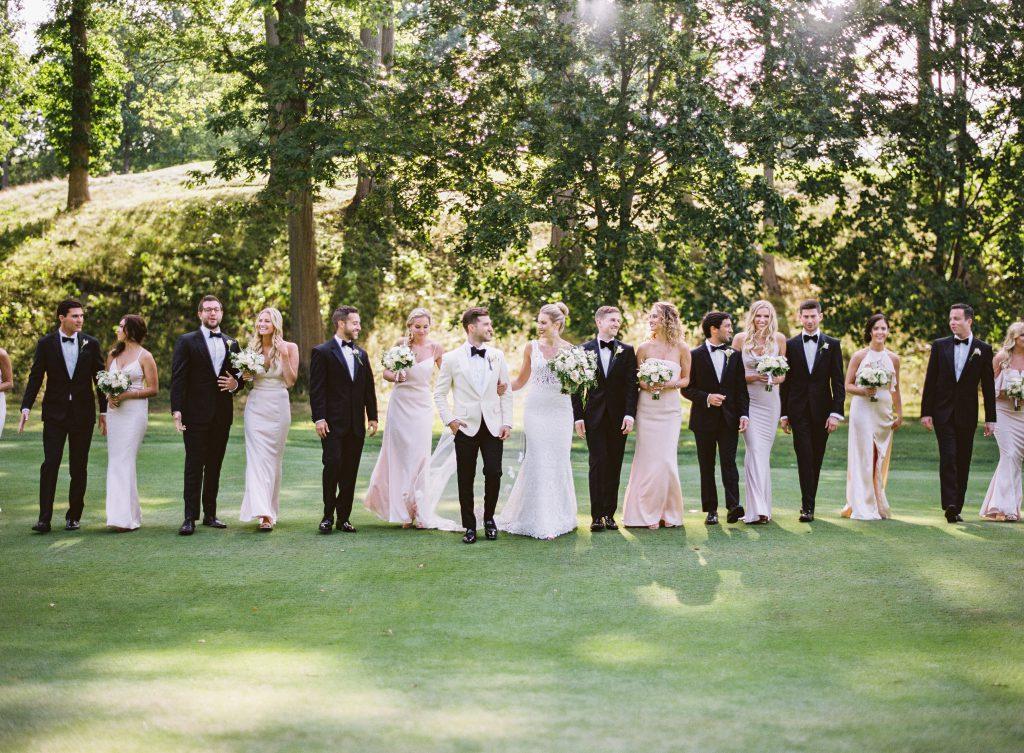 Black tux bridal party