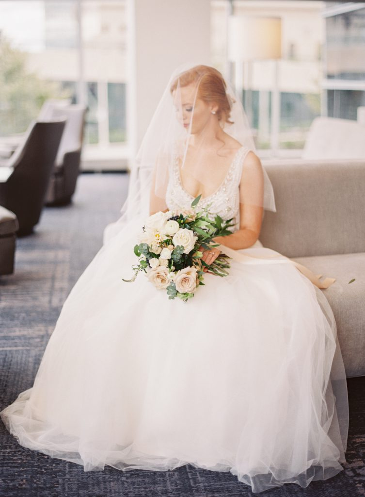 Bridal portrait sitting on couch