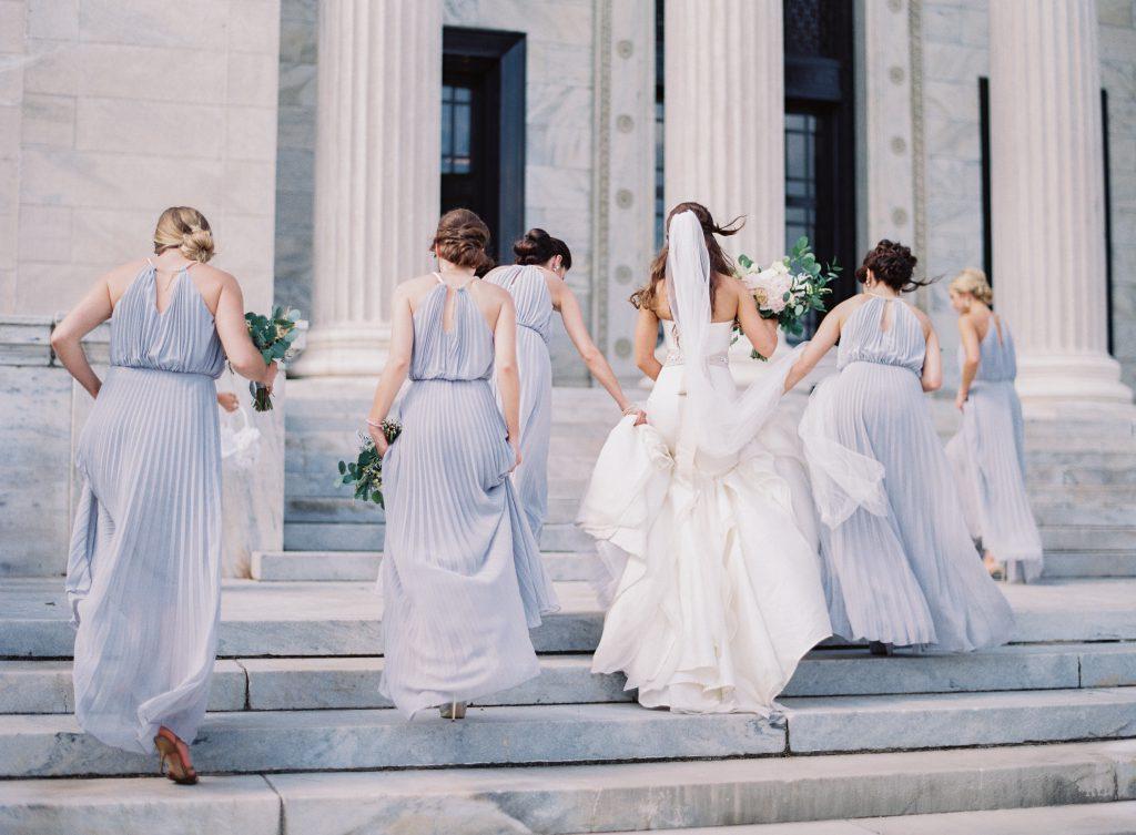 Bridesmaids in Periwinkle dresses