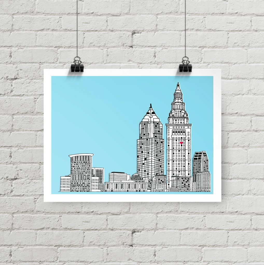 Cleveland Skyline Print by Small Screen Designs