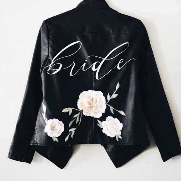 Hand painted bride leather jacket by the blonde maker