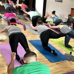 Bottoms up Yoga at Platform Beer Co