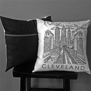 Chris Deighan Art Guardians Pillow Black White