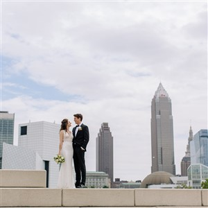 Bride Groom Cleveland Skyline Maria Sharp Photography