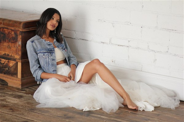 Celia Grace Bride in Fair Trade Gown and denim jacket