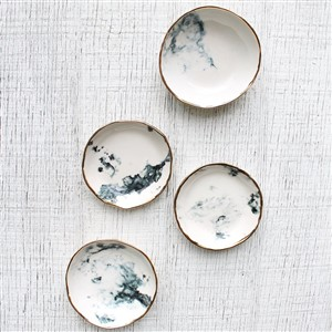 Gold rimmed porcelain ring dishes by Clear Blur Design
