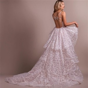 Back of Hayley Paige wedding dress in blush