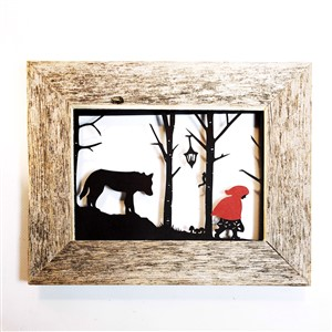 Red Riding Hood and Wolf Paper Cut Print - Framed
