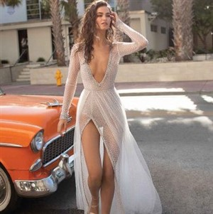 Berta Bride in Sheer Gown with Deep V and High Slit
