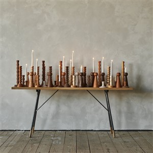 Lostine Wooden Candlestick-filled Tabletop