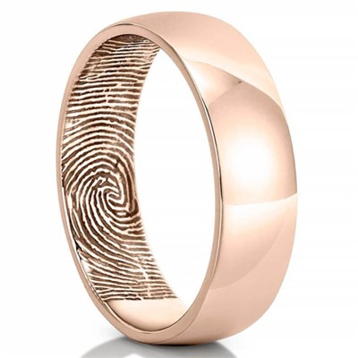 Do Amore Inside Fingerprint Men's Wedding Band in Rose Gold