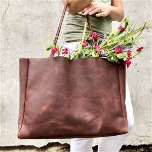 Urban Artisan Boutique Large Brown Leather Shopping Tote