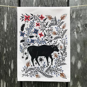 Folk and Flora Bull and Flower Tea Towel