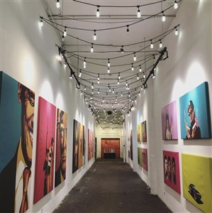 Art-Lined Hall at Red Space in Cleveland
