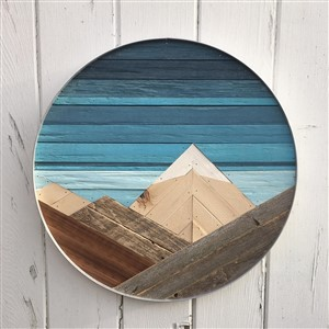 Forested Way Circle Wood Art Blue