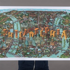 Mario Zucca hand-drawn Philadelphia map