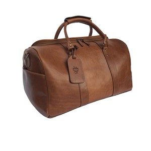 William and James Brown Leather Duffel Bag