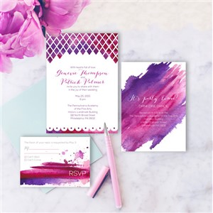 Hand Painted Weddings Watercolor Invitation Suite