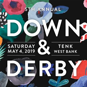 Down and Derby Graphic with Flower Print Background