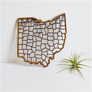Hickory Twine Laser Cut Wooden Ohio Map