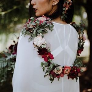 Sebesta Design flower cape garland in moody colorsat Wedding by Alexandria Catherine Events