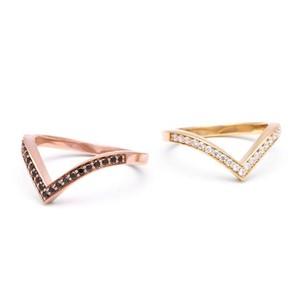 Black and White Diamond Chevron Bands by Angela Monaco Jewelry