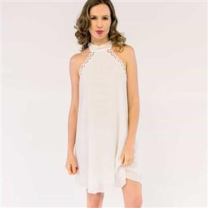 Elle Lauri White Halter Dress