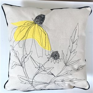 Coneflower Embroidered Pillow by JennyJen42