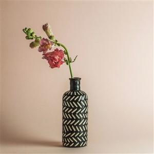 Melissa Koenig Black and White Pattern Bud Vase