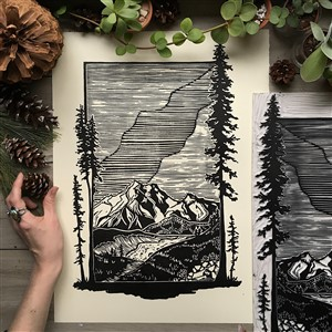 Rise and Wander Between the Pines Block Print