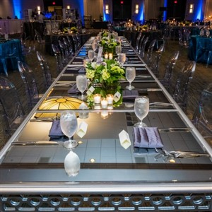 Event Source Event Space Long Tables Dramatic Lighting