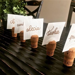 Place Cards on Corks by Pennmanship