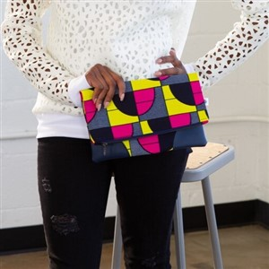 Pink Yellow and Navy Geo Clutch