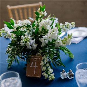 White and Green Centerpiece by Ashleys Floral