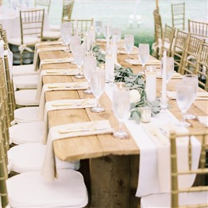 Rustic Wooden Farm Table Set for Reception